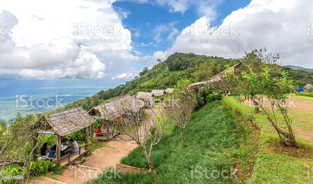 Tourists attractions at Bamboo hut with soil walkway. stock photo