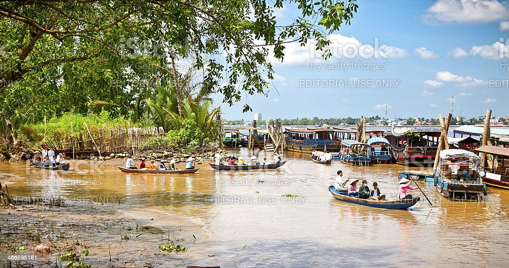 Tourists boats in Ben Tre, Mekong delta , Vietnam. royalty-free stock photo