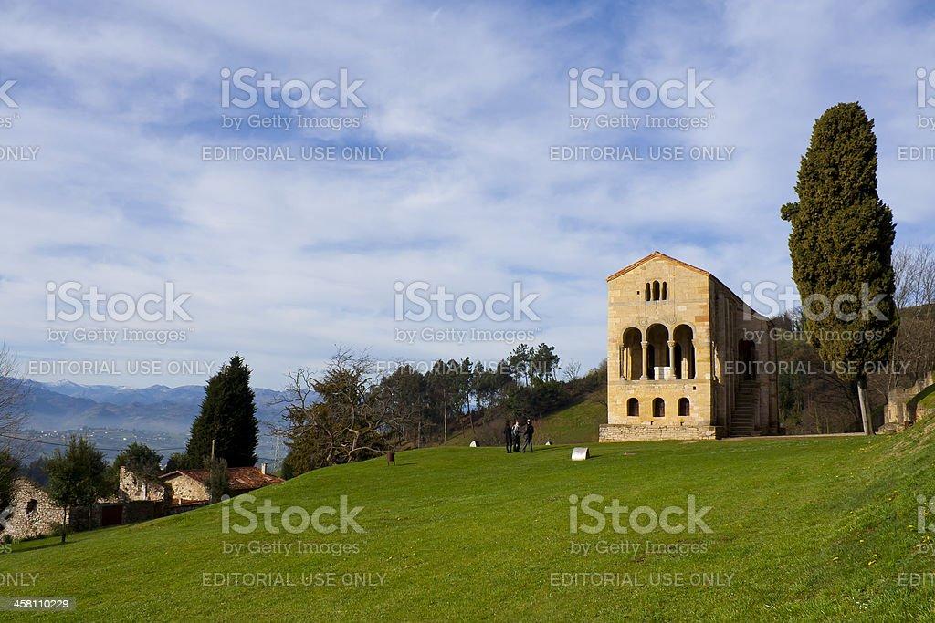 Tourists by the church of Santa Maria del Naranco, Oviedo stock photo