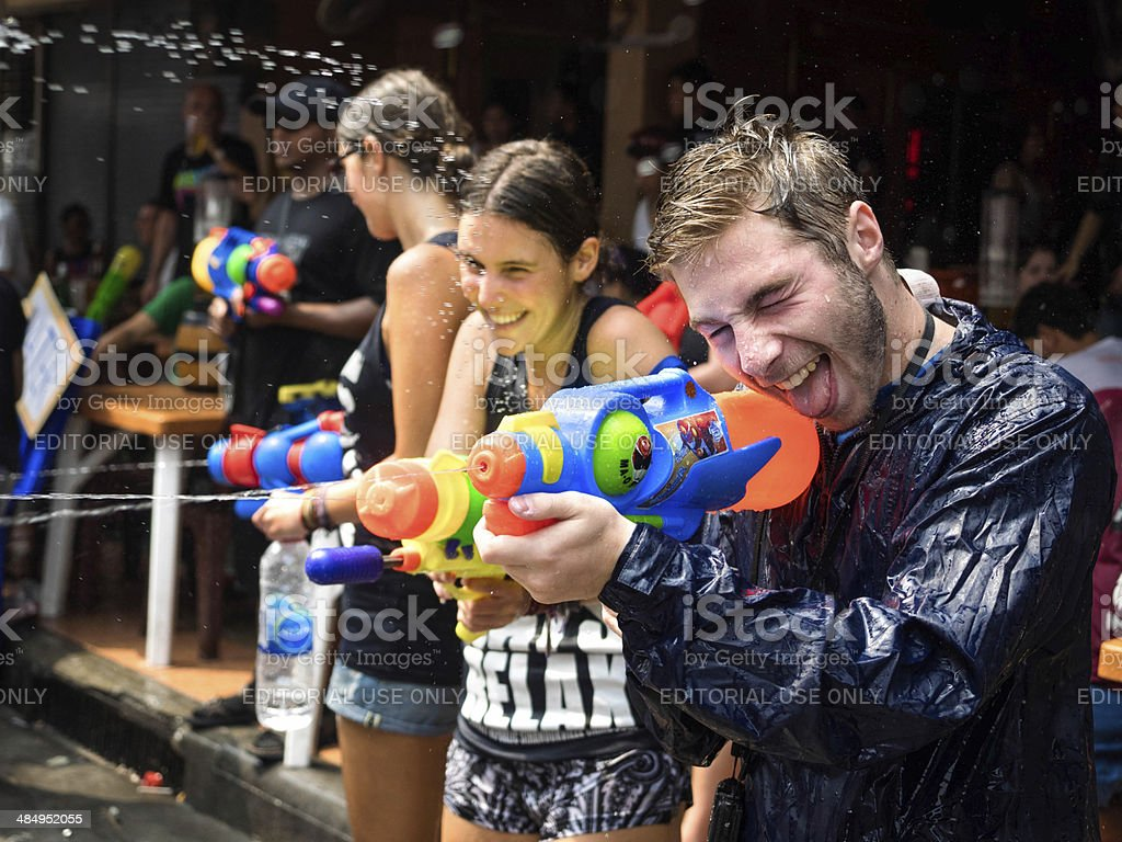 Tourists Celebrating Songkran 2014 in Bangkok, Thailand stock photo