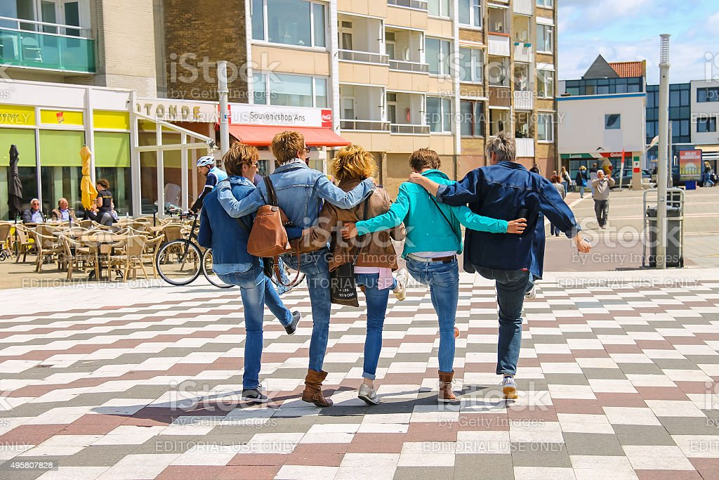 Tourists dansing on the square in Zandvoort, the Netherlands stock photo