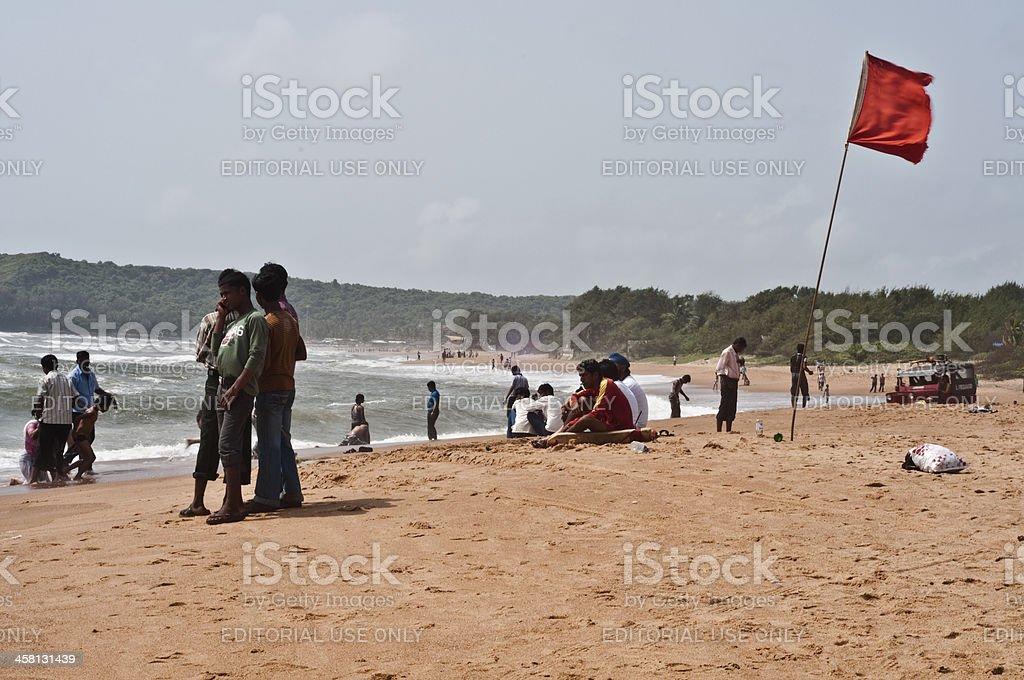 Tourists enjoying in calangute beach Goa. stock photo