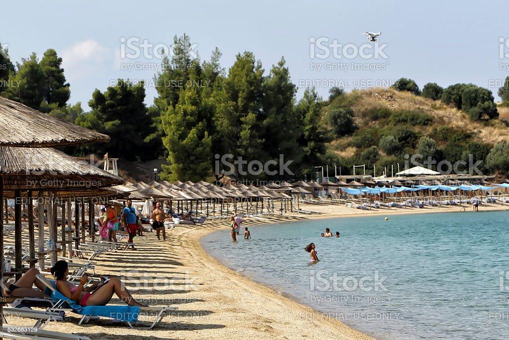 Tourists enjoying summer day at the hotel Porto Carras stock photo