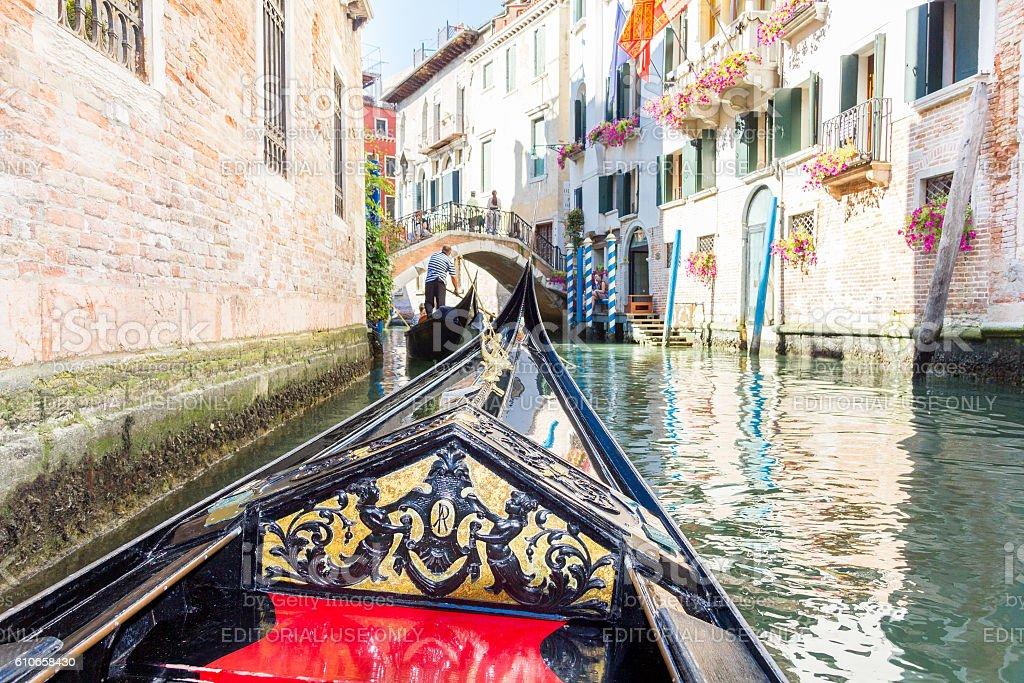 Tourists enjoying the gondolas in Venice, Italy stock photo