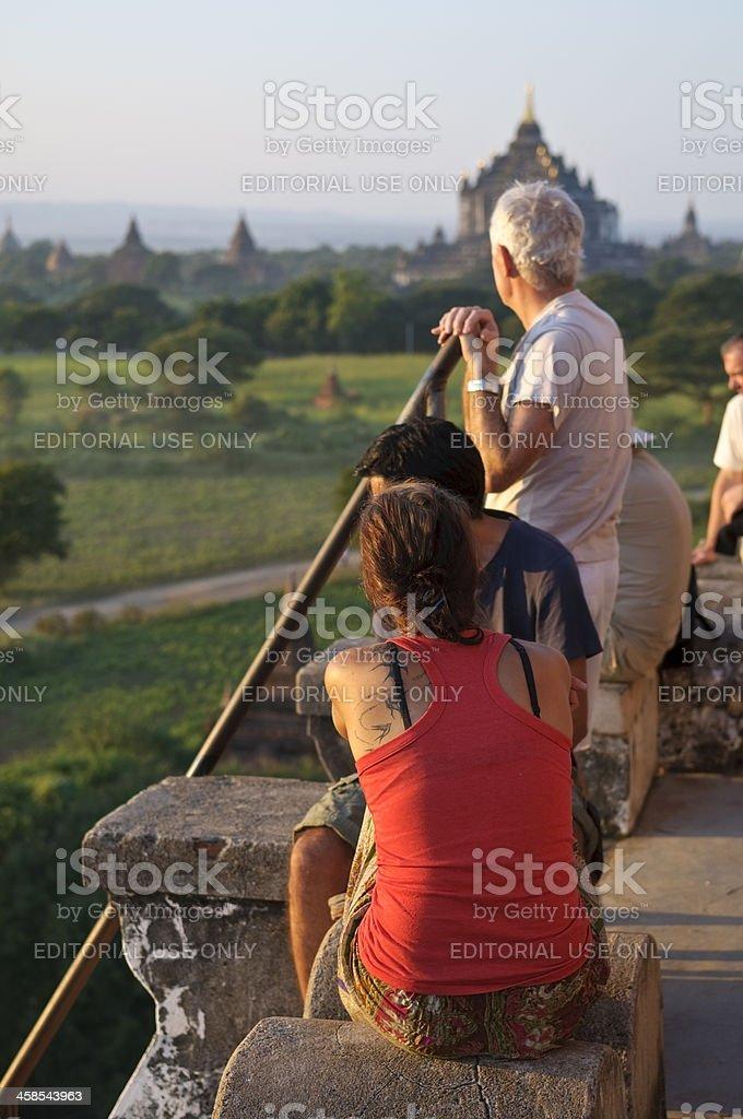 Tourists enjoying view in Bagan, Myanmar stock photo