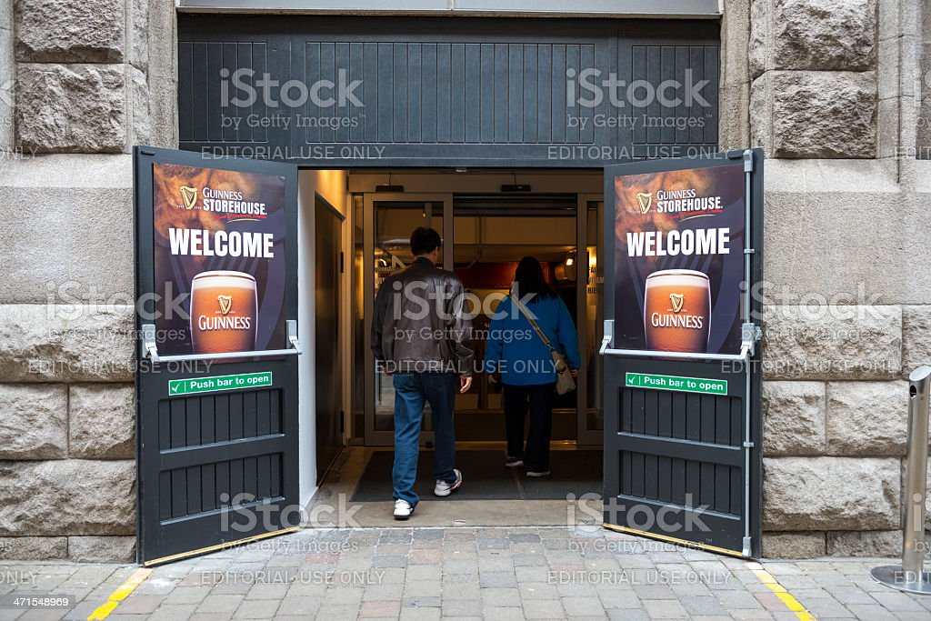 Tourists entering Guinness Storehouse for tour stock photo