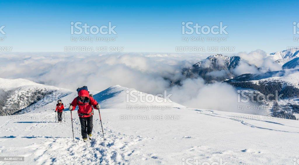 Tourists entering the summit. stock photo