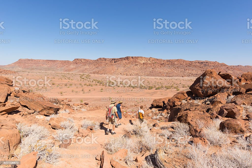 Tourists exploring the Namib desert, Namibia, Africa stock photo