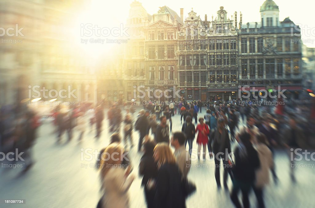 Tourists Flock Grand Place Plaza in Brussels stock photo