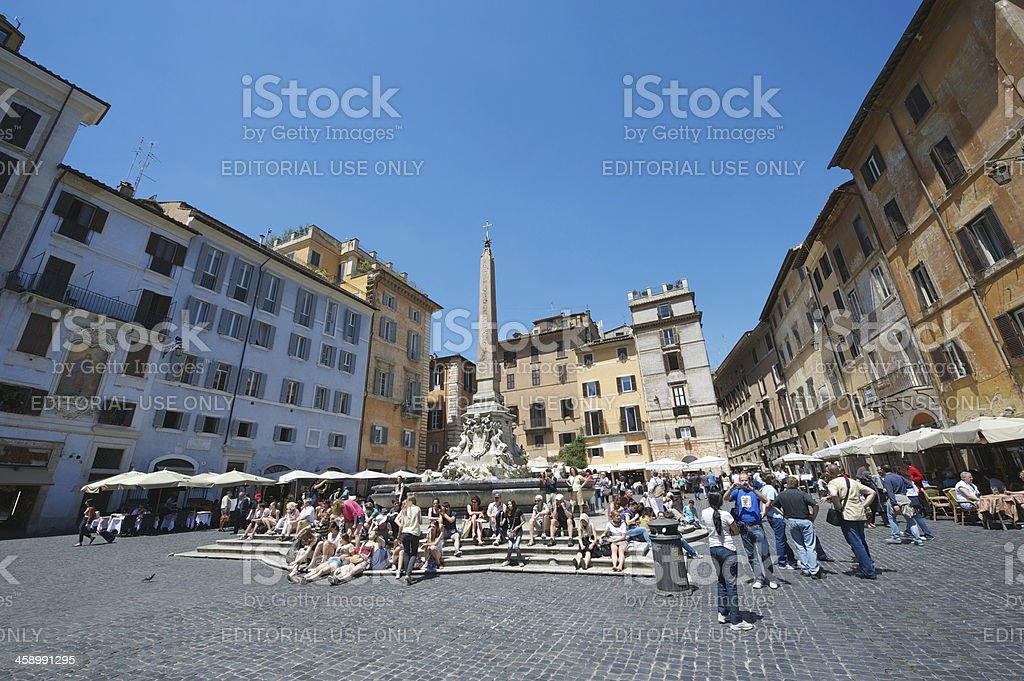 Tourists Gather at Fountain in front of the Pantheon Rome stock photo