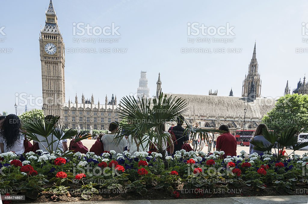 Tourists gather here to take photos , Big Ben in background. stock photo