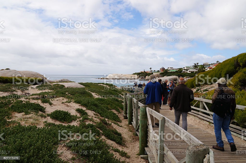 Tourists going to visit penguins colony on Boulders Beach. stock photo