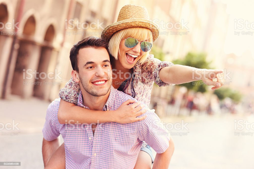 Tourists having fun in the city stock photo