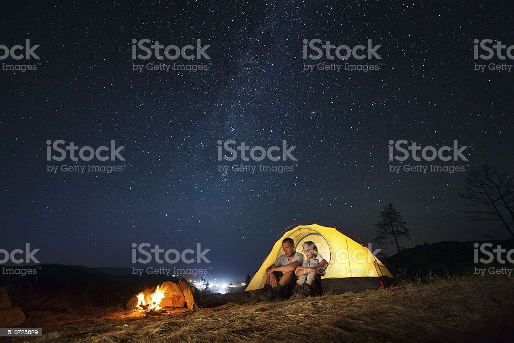 Tourists in a camp stock photo