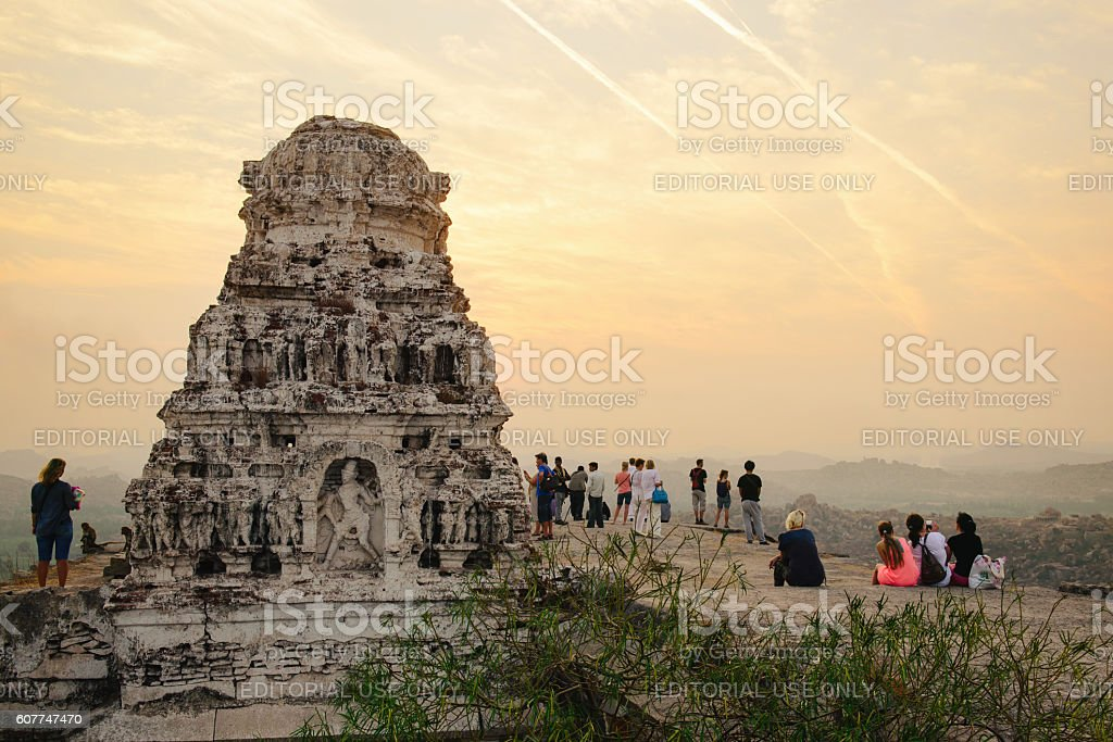 Tourists in ancient ruins of Hampi stock photo