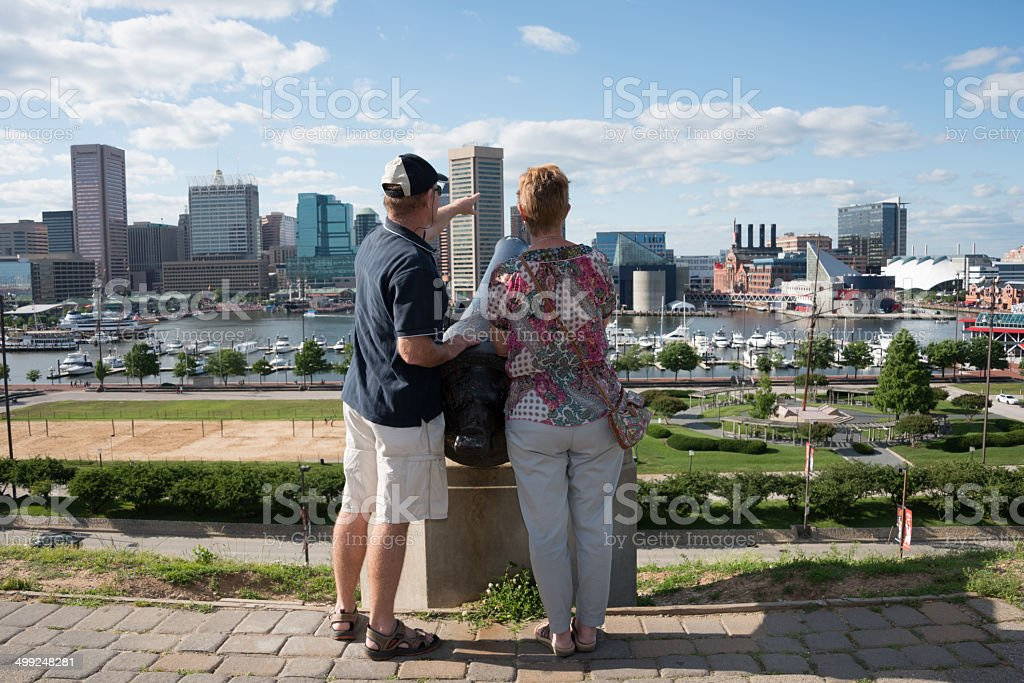 Tourists in Baltimore stock photo