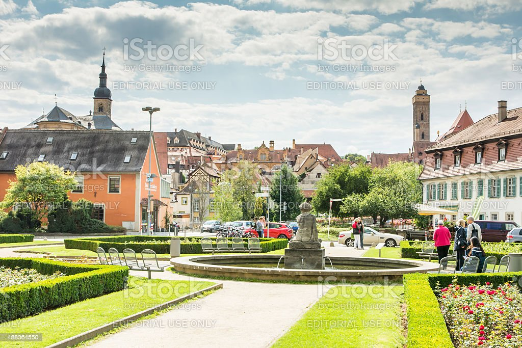 Tourists in Bamberg stock photo
