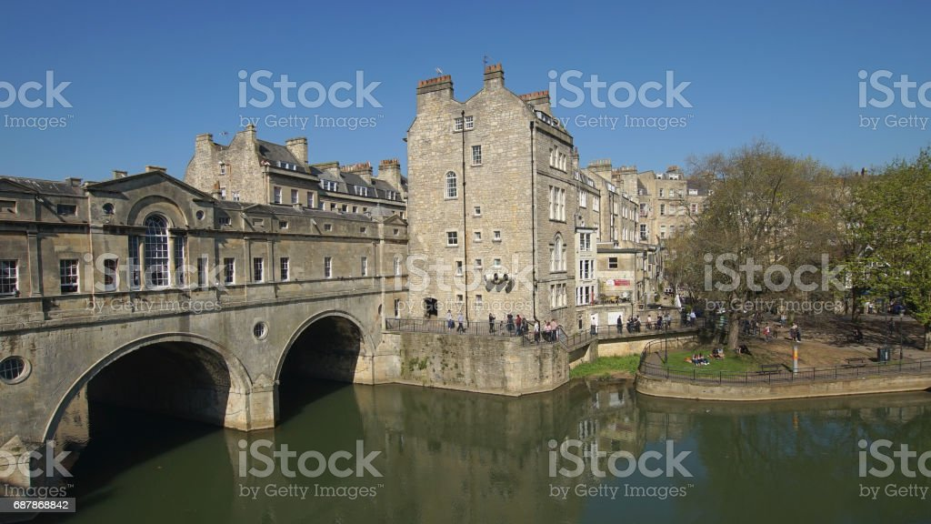 tourists in bath city in England stock photo