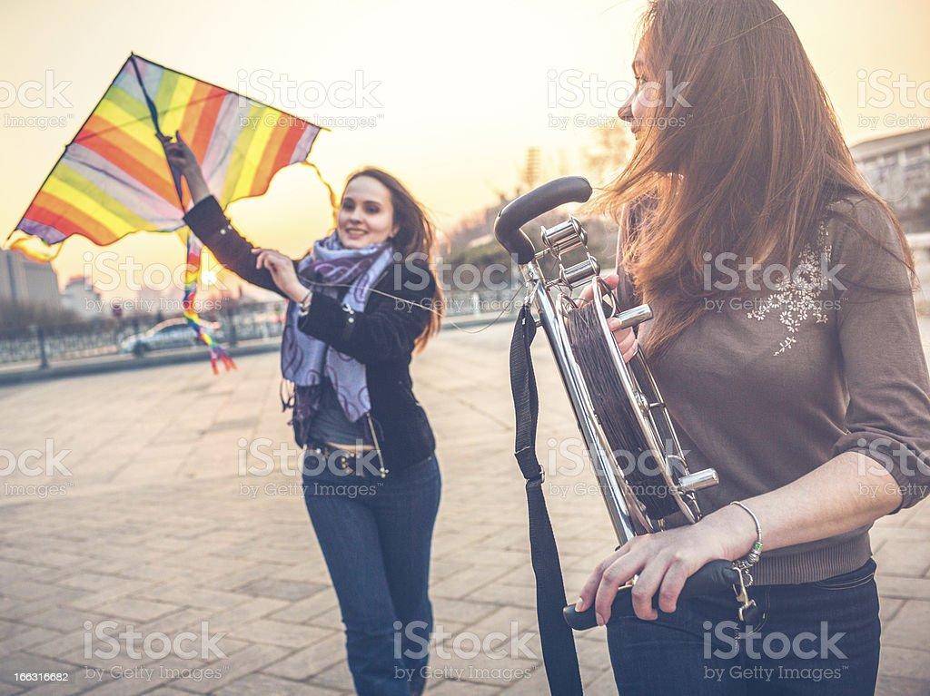 Tourists in Beijing launching kite stock photo