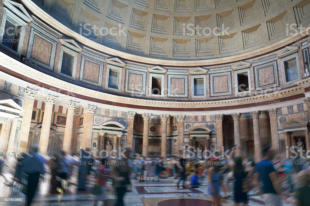 Tourists in blurred motion at the Pantheon in Rome, Italy stock photo