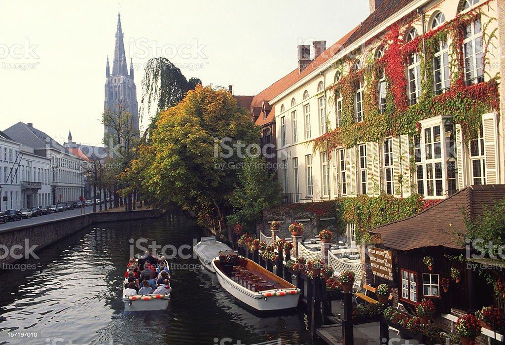 Tourists in boat, Bruges,Belgium stock photo