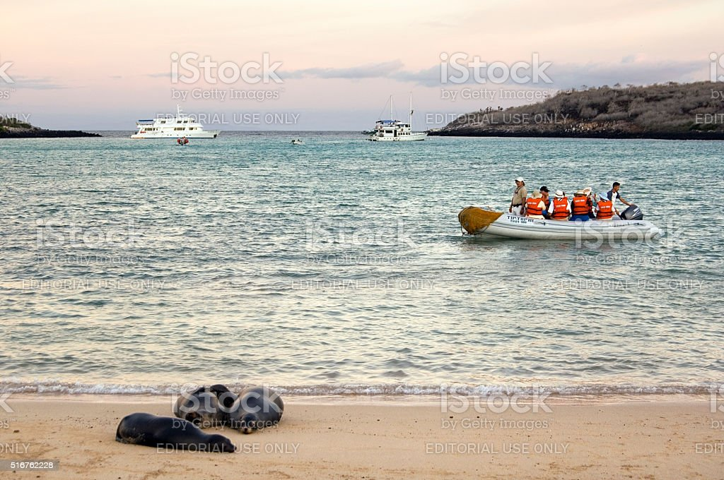 Tourists in boat with sea lion, Galapagos Islands Ecuador stock photo
