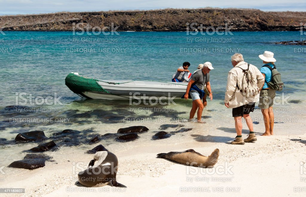 Tourists in boat with sea lion Galapagos Islands stock photo