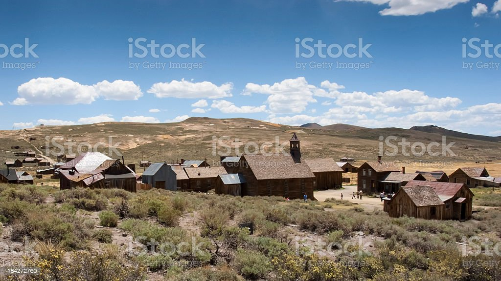 Tourists in Bodie Ghost Town, California stock photo