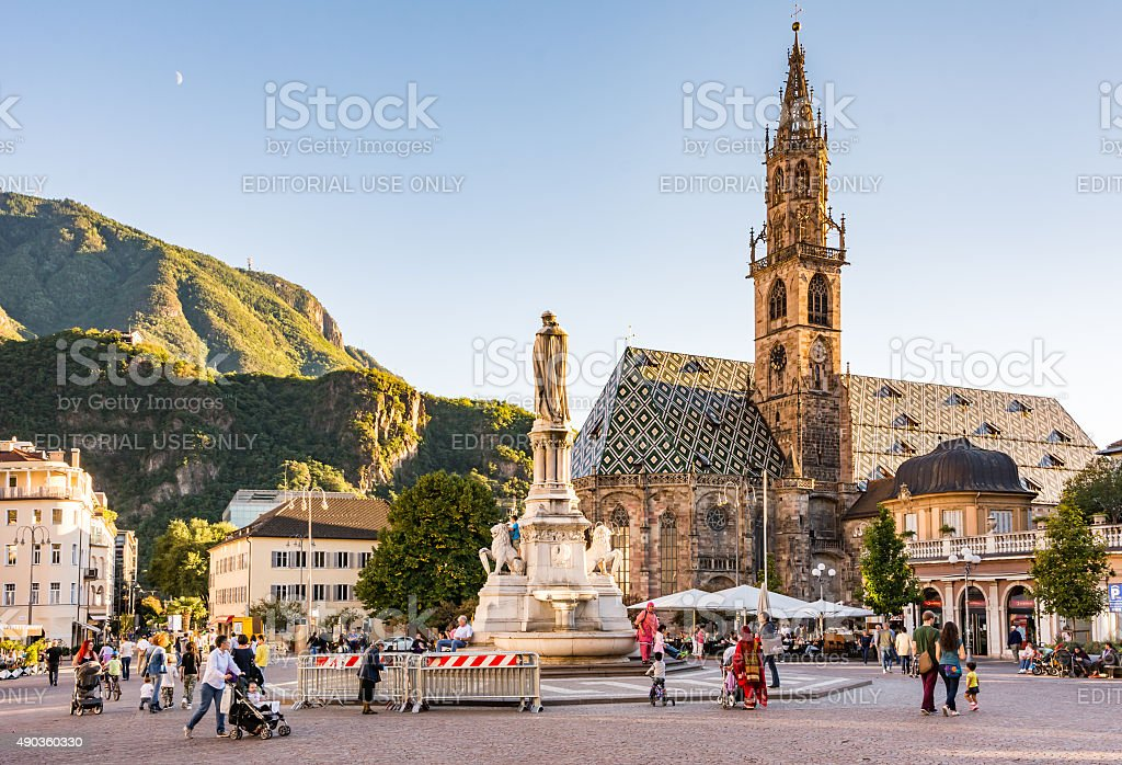 Tourists in Bolzano stock photo