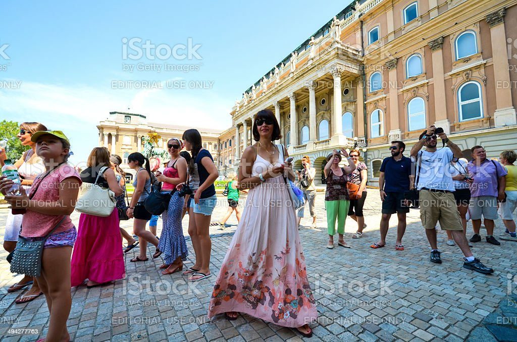 Tourists in Budapest stock photo