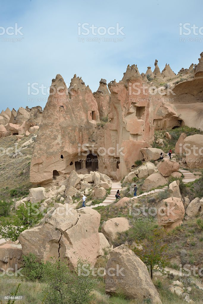 Tourists in Cappadocia stock photo