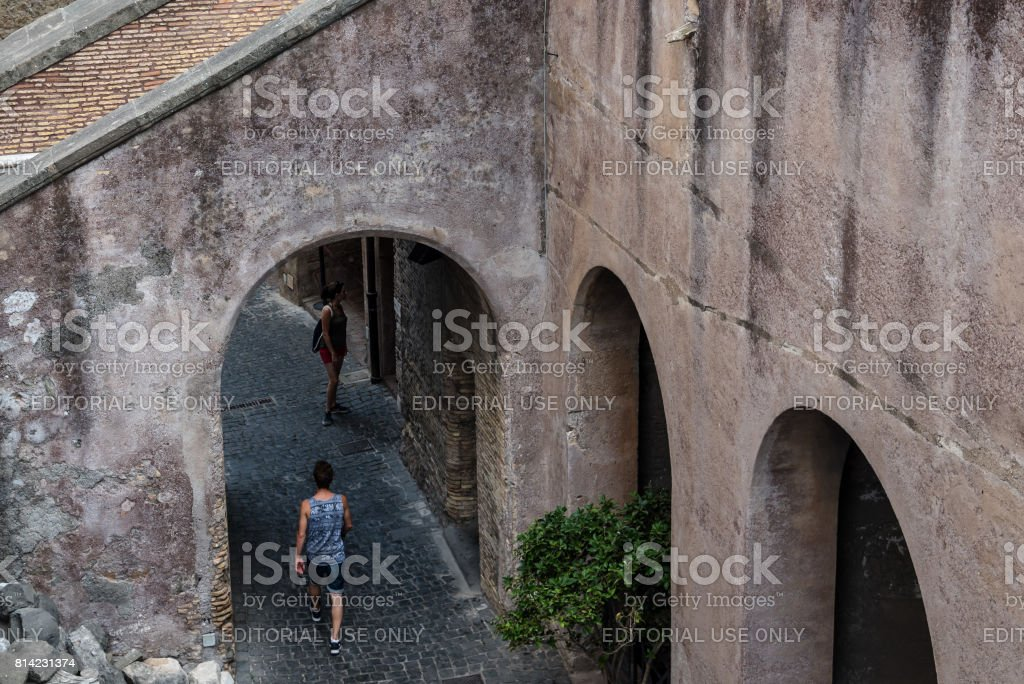 Tourists in Castel Sant Angelo. stock photo