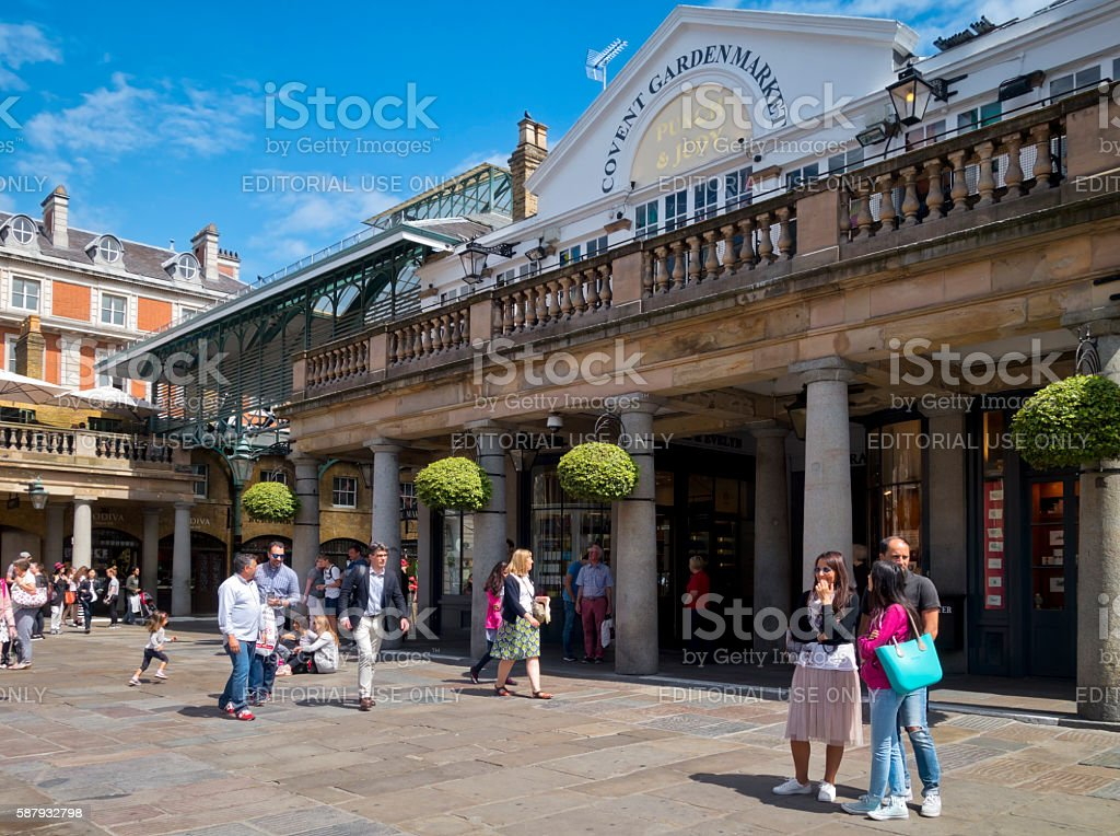Tourists in Covent Garden stock photo
