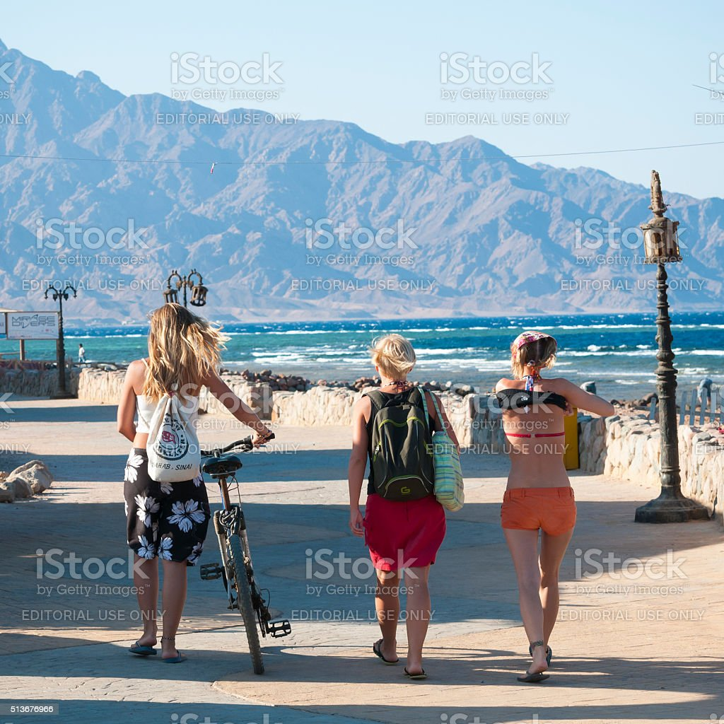 Tourists in Dahab, Egypt stock photo