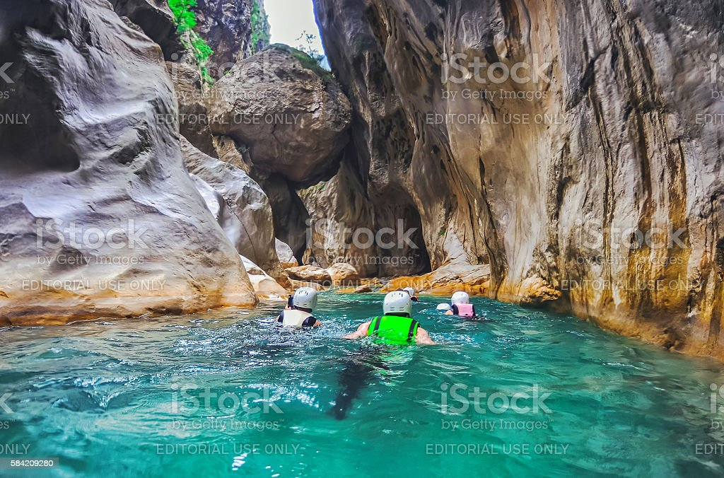 Tourists  in deep Saklikent canyon in southern Turkey stock photo