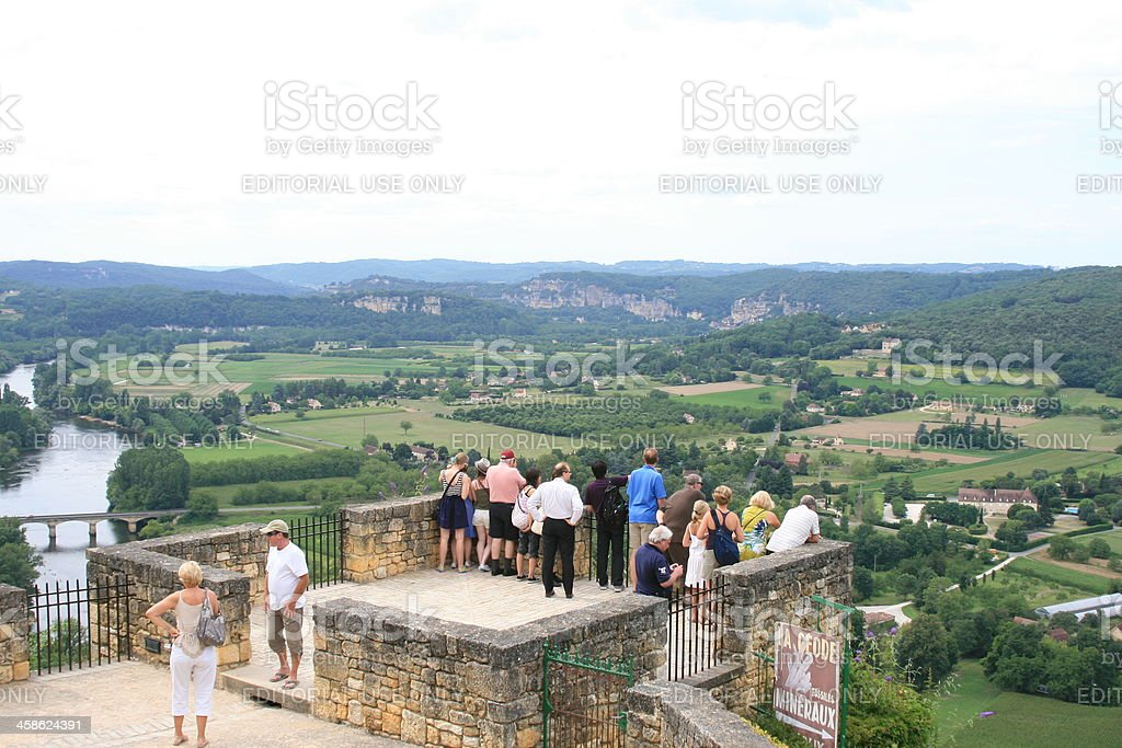 Tourists in Domme stock photo