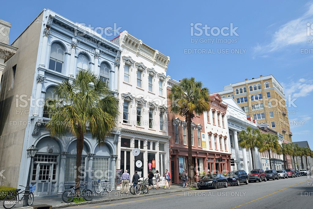 Tourists in Downtown Charleston of South Carolina stock photo