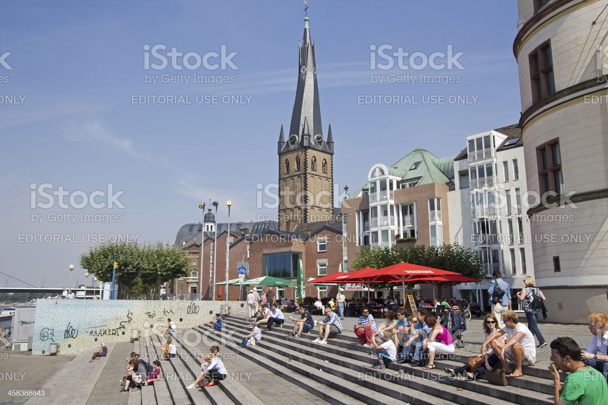 Tourists in Dusseldorf royalty-free stock photo