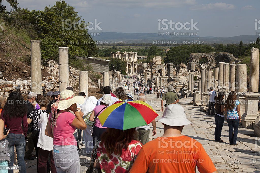 Tourists in Ephesus walking around royalty-free stock photo