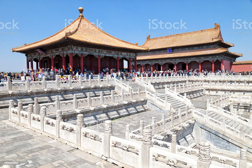 Tourists in Forbidden City, Beijing, China stock photo