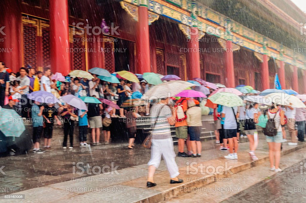 Tourists in Forbidden City, storm, Beijing, China stock photo