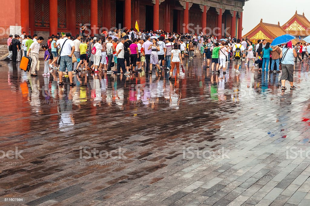 Tourists in Forbidden City,after the storm, Beijing, China stock photo