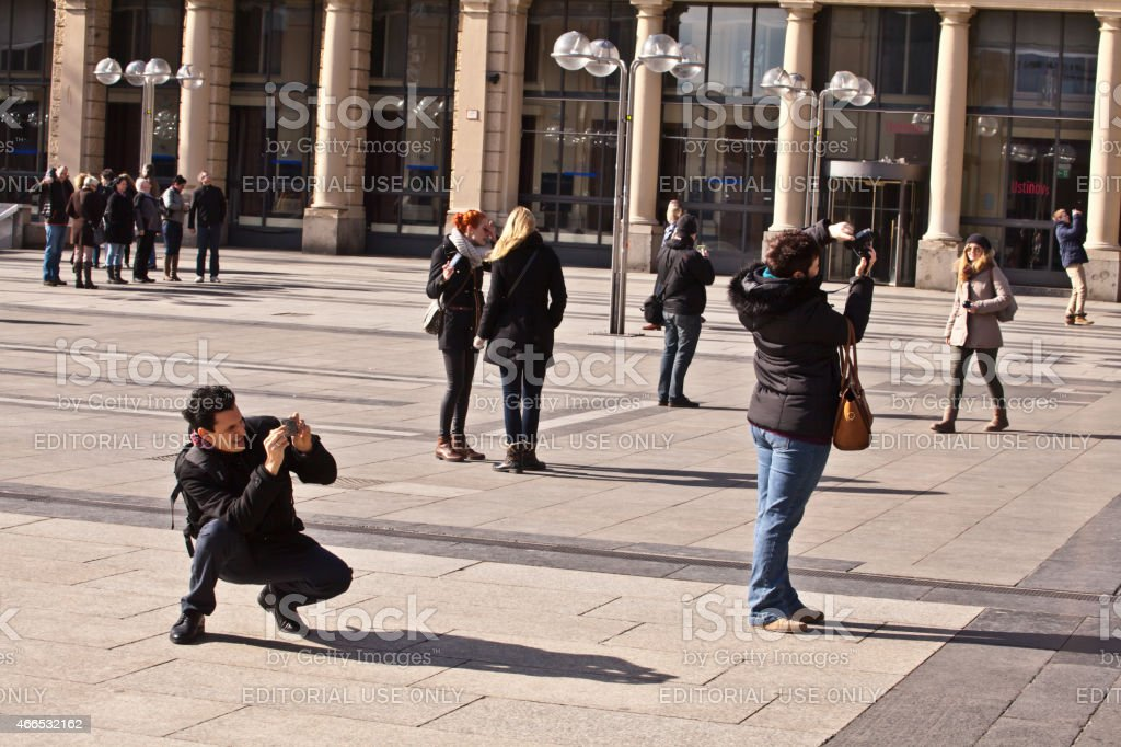 tourists in front of COlogne Cathedral stock photo