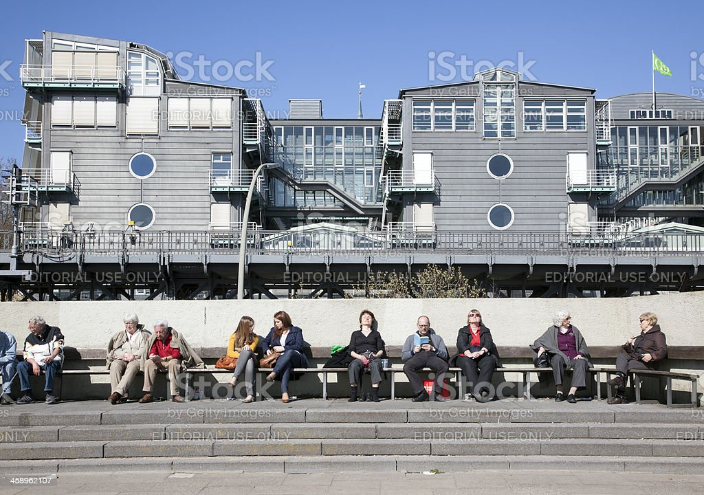 Tourists in front of Gruner + Jahr, Hamburg, Germany stock photo
