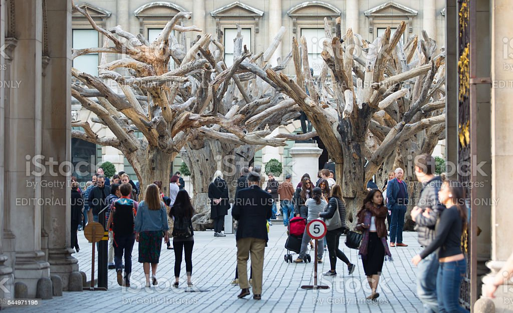 Tourists in front of Royal Academy of Art. London stock photo