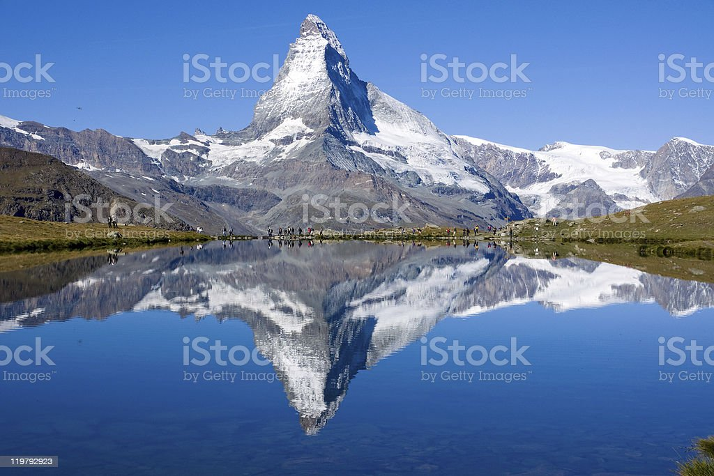 Tourists in front of the Matterhorn royalty-free stock photo