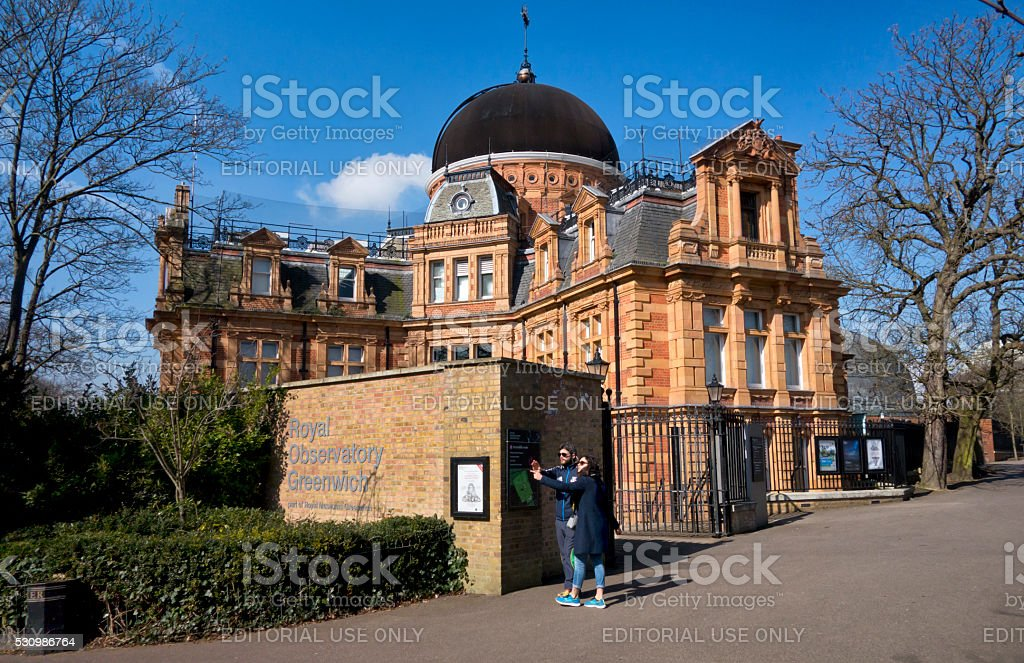 Tourists in front of the Royal Observatory, Greenwich stock photo