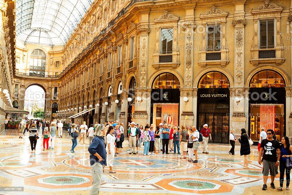 Tourists in Galleria Vittorio Emanuele II stock photo