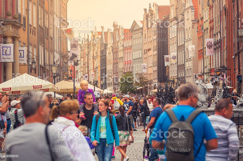 Tourists in Gdansk old town stock photo