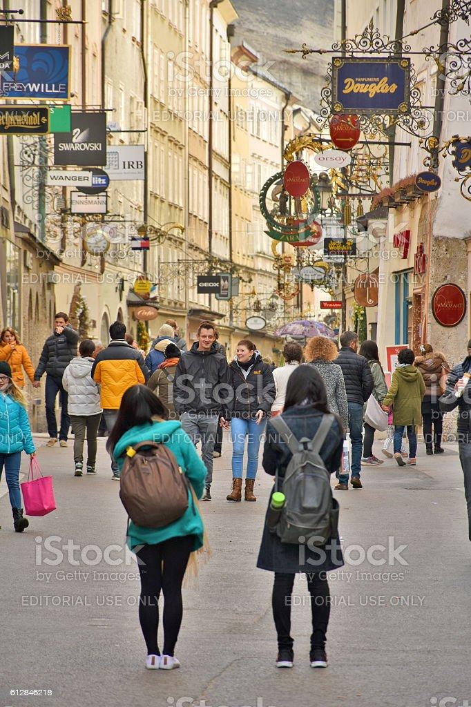 Tourists in Getreidegasse, Salzburg stock photo